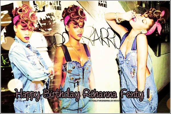 . 20 février 1988 ~ 20 février 2012_________Happy Birthday Rihanna !. Hey oui, aujourd'hui c'est l'anniversaire de notre belle Rihanna! Celle qui nous fait danser comme pleurer sur ses musiques, pour moi c'est vraiment la perfection incarnée, une princesse dont je suis fan depuis 2 ans déjà ! Donc je souhaite un très bon anniversaire à une talentueuse jeune femme épanouie, et aussi beaucoup de surprises pour cette année !.