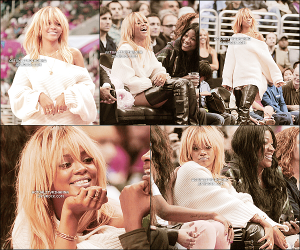 """. 02 février - La belle a assisté une fois de plus à un match de basket au Staples Center à Los Angeles.+ Rihanna a posté deux photos sur Twitter, avec un message disant qu'elle faisait une couverture pour la magazine """"ELLE"""".."""