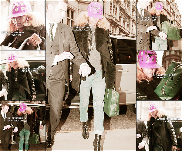 """. 17 février - Rihanna a été vue arrivant à son hôtel à Londres, en Angleterre. Top ou Flop ?Rihanna sera présente à la cérémonie anglaise, les """"Brit Awards"""", le 21 février. Soyez présents ! ."""