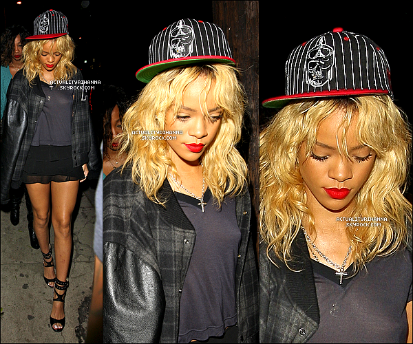 ". 04 mars - Rihanna arrivait au club ""Greystone"" dans le quartier de West Hollywood à Los Angeles.J'aime beaucoup sa casquette et ses chaussures, mais je n'aime pas du tout son cuir. Top ou Flop ?."