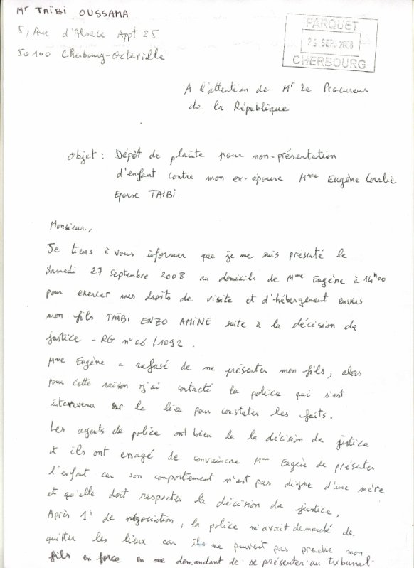 Blog de objet du scandale objet du scandale - Lettre au procureur pour plainte ...