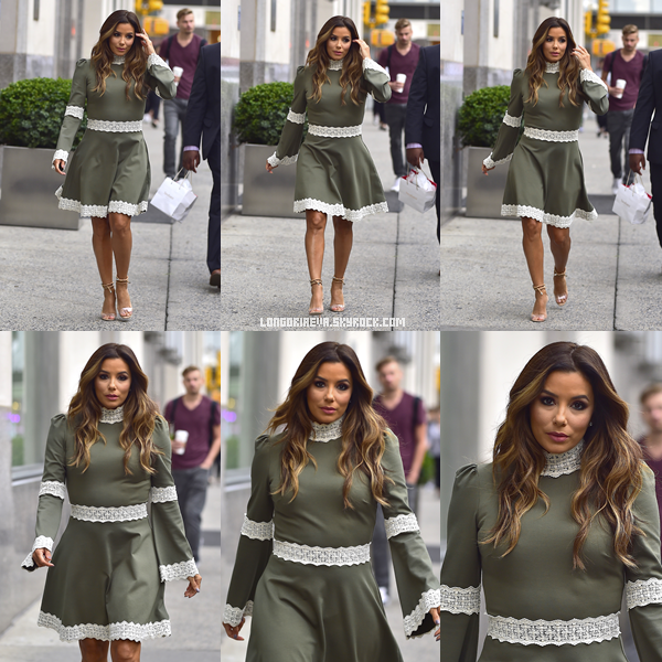 14/09/17 : Eva quittant son hôtel, à - New-York City. J'adore cette tenue qui lui va si bien, TOP ! [/font=Arial]