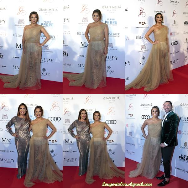 16/07/17 : Eva participait au  Global Gift Gala  de  Melia Don Pepe  à Marbella , en - Espagne. Concernant sa tenue, la belle portait une longue robe de couleur dorée, je lui accorde un TOP !