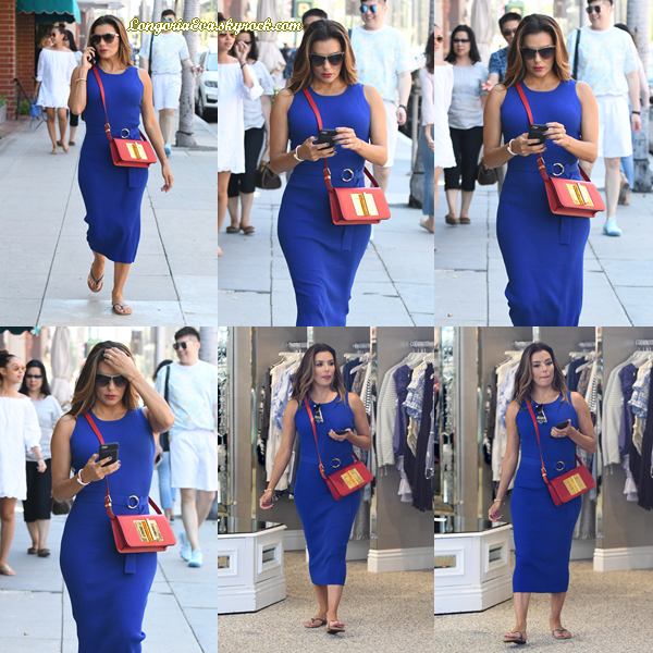 29/07/17 : Eva à été vue se rendant à un salon à Beverly Hills , en - Californie. Concernant sa tenue, notre belle Eva portait une robe de couleur bleue, je lui donne un top.