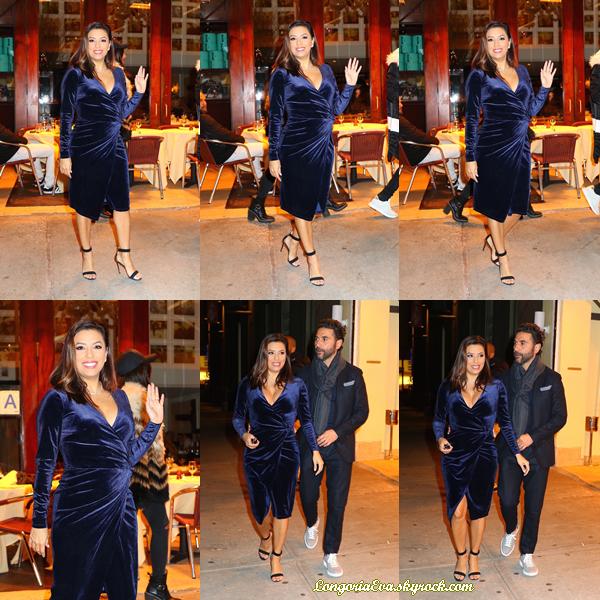 21/11/17 : Eva quittant le restaurant « Cipriani » à New-York , aux - Etats-Unis. L'actrice est juste canon dans une tenue qui la met en valeur, gros top pour la miss !