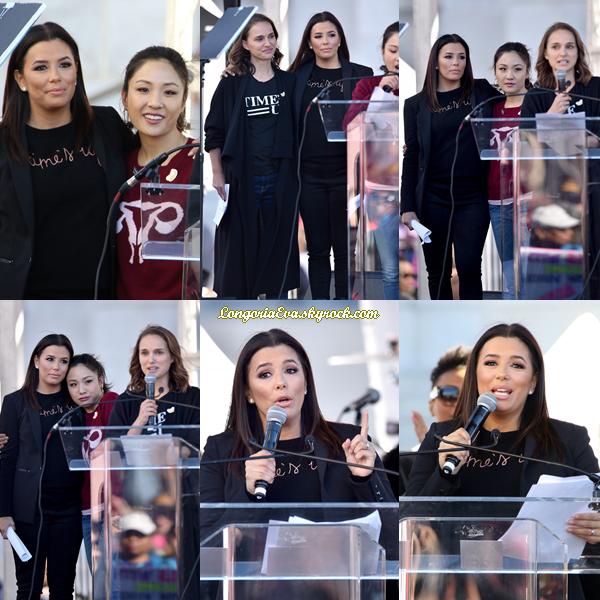 20/01/18 : Eva en compagnie de  Natalie Portman  et  Constance Wu  assistaient à  La Marche des Femmes  à Los Angeles , en - Californie. J'accorde un top pour la tenue sans hésitation car elle est rayonnante !