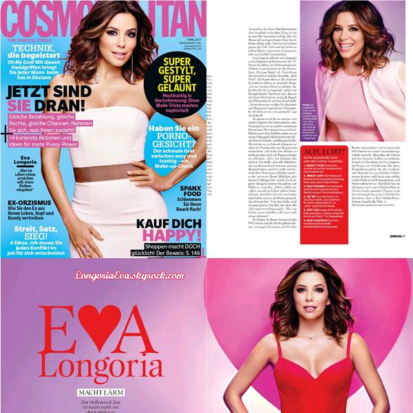 """ • COVER ""Cosmopolitan Allemagne"" le magasine où Eva pose pour Avril 2017 !  """