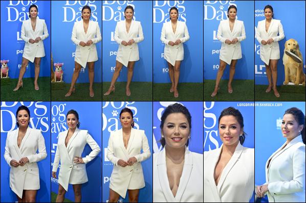 05/08/18 : Eva se rendant à la première du film Dog Day à Century City. Eva toute de blanc vêtue était vraiment sensationnelle pour l'occasion c'est un top bien mérité pour la belle !