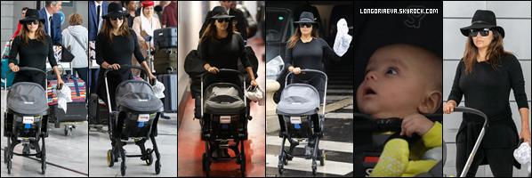 23/09/18 : Eva arrivant avec son fils Santiago à Paris , en - France. Une tenue très sombre encore mais l'actrice est entièrement pardonnée avec Santiago !