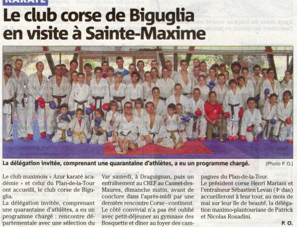 L'article de presse concernant l'interclub