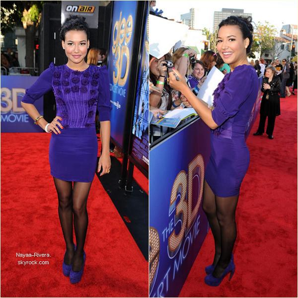 """_ Events _ _   """"Fox All Star Party"""" & """"Glee: The 3D Concert Movie"""" Premiere   Ce fut un week end chargé pour Miss Rivera qui en deux jours est sortie deux fois! Elle s'est rendue vendredi 5 Août à la """"Fox All Star Party"""" organisée par la FOX. Elle portait une magnifique petite robe noire qui met en valeur ses longues jambes! Top ou Flop? Le lendemain soir, samedi 6 Août, elle a assisté à l'avant première mondiale du film « Glee: The 3D Concert Movie » (qui sortira en France le 28 Septembre). Elle portait une très jolie robe violette et des talons de la même couleur! Top ou Flop? Hier soir, dimanche 7 Août se tenait la cérémonie des TCA où la série a remporté le prix de la meilleure série comique, mais Naya n'était pas présente malheureusement.  _ _   _ _"""