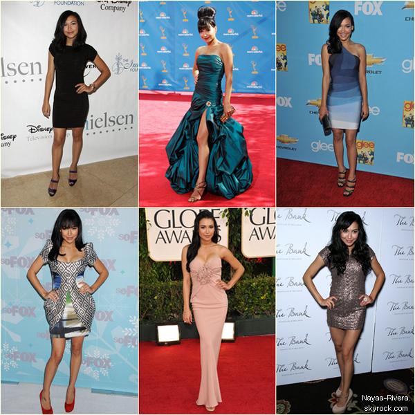 _ Sondage _ _   What's your favorite dress ?    Depuis la création du blog le 18 Août 2011, Naya s'est présentée à des évènements dans des robes plus ou moins jolies. Quelle est votre favorite? Laquelle détestez-vous?  _ _   _ _