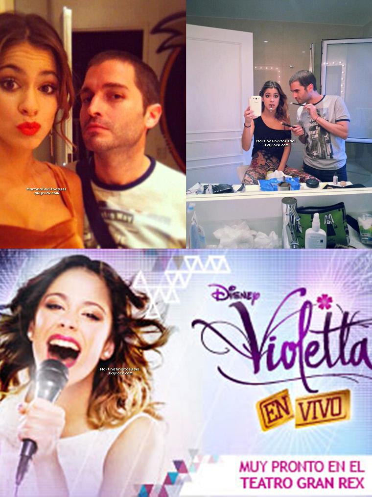 Tini se préparant avec le maquilleur Marcos Aranda pour aller au défilé de Rick Sarkany + Affiche du spectacle « Violetta En Vivo » en Argentine.