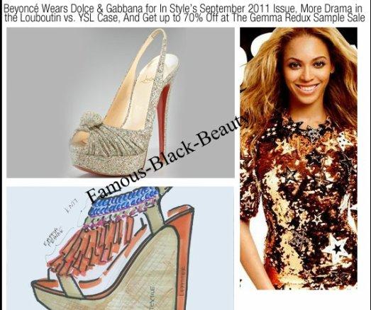 Beyoncé s'habille en Dolce & Gabbana pour En Septembre 2011 Numéro de Style, plus de drame dans l'affaire Louboutin vs YSL, et obtenir jusqu'à 70% de rabais à la Vente Gemma échantillon Redux par Jihan