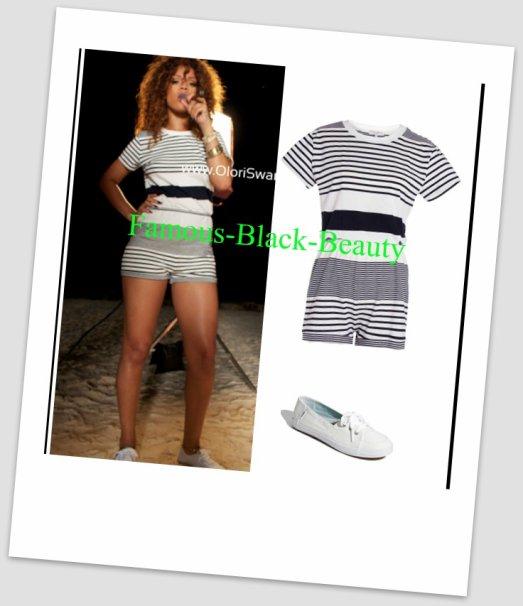 Armoire de requêtes: Rihanna J. Cole 'Cant Get Enough' Video Cérémonie d'ouverture rayé T-shirt Romper par Claire