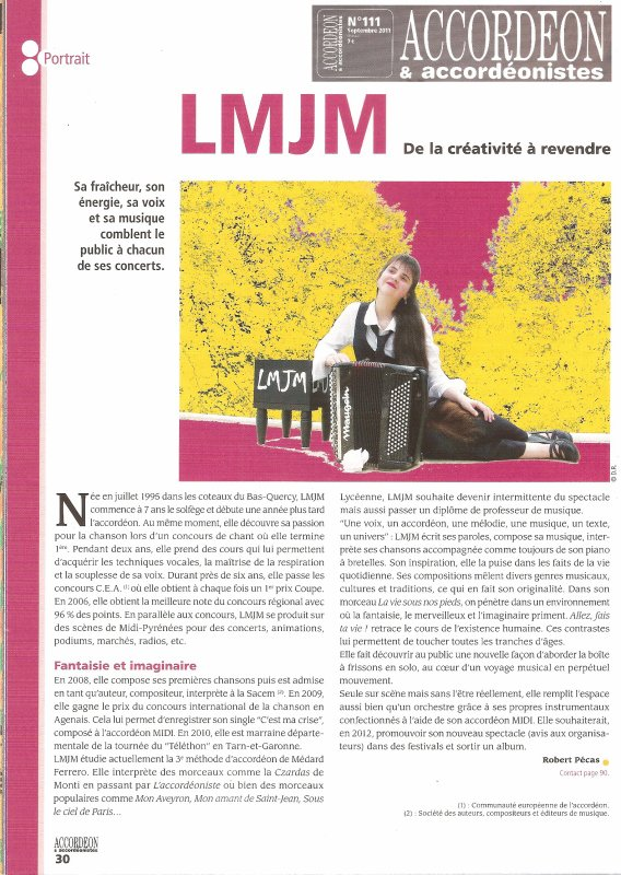 ARTICLE DE PRESSE MAGAZINE ACCORDEON & ACCORDEONISTES