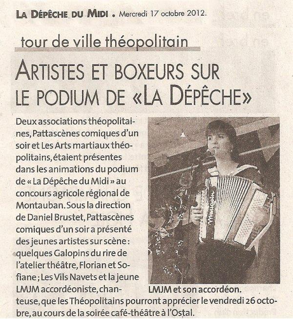Article La Dépêche du 17 Octobre 2012