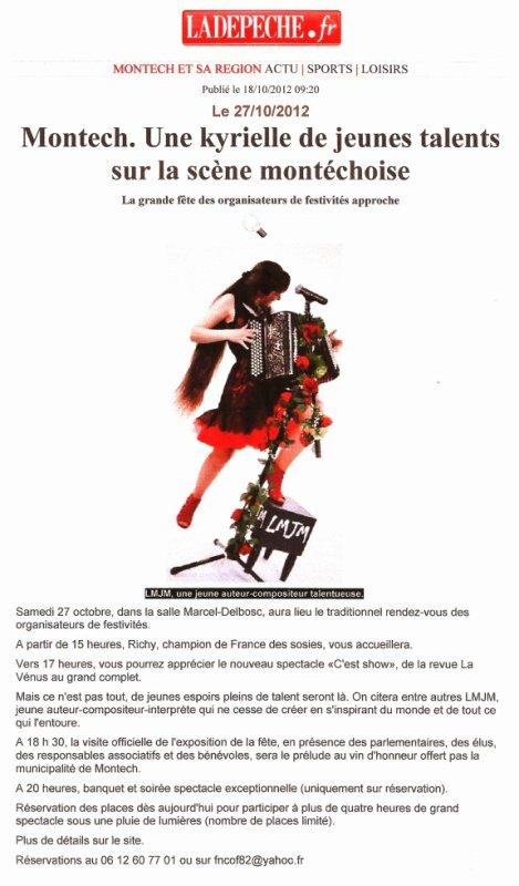 Article La Dépêche du 18 Octobre 2012