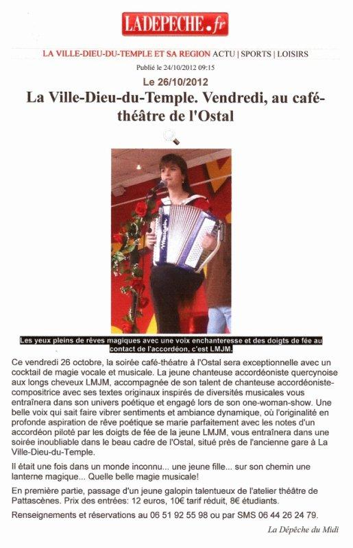 Article La Dépêche du 24 Octobre 2012