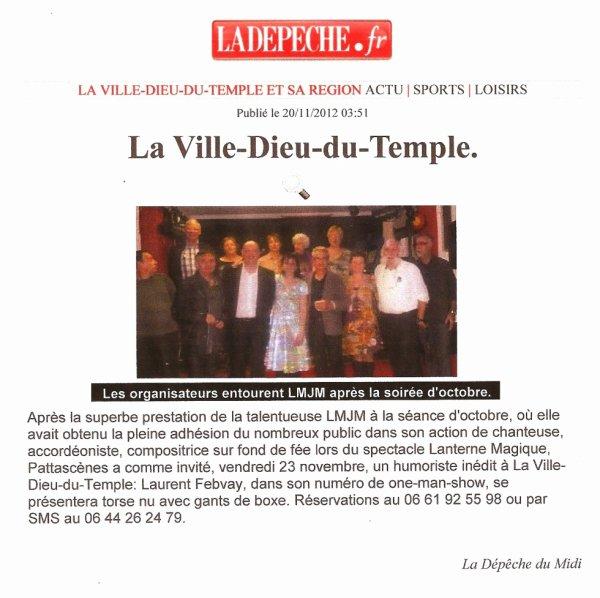 Article La Dépêche du 20/11/2012