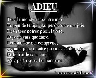Adieu Amour Haine Souffrance