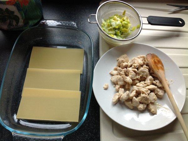 Lasagnes au poulet et poireaux