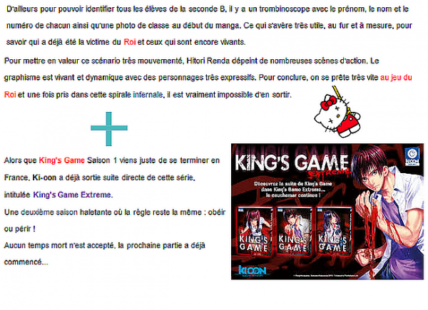 King's Game  le retour !!