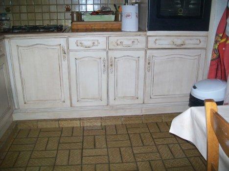 cuisine blanche patine marron a paluel jennydeco62 douai arras cambrai. Black Bedroom Furniture Sets. Home Design Ideas