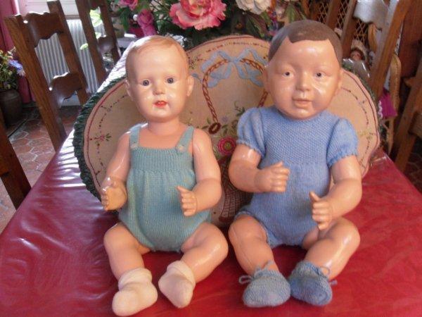 J'ai trouvé ces 2 baigneurs tout au début de ma collection, j'adore ces visages un peu particuliers ...