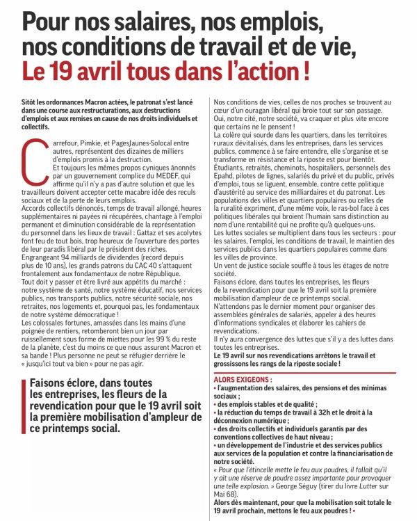 APPEL DE LA FILPAC-CGT