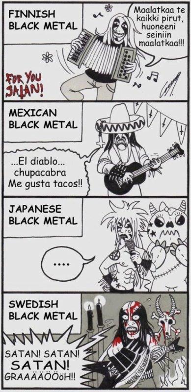 le black metaleu dans différant pays