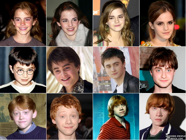 A l'occasion de la sortie d'Harry Potter 7, voici l'évolution de ses acteurs!  Votre année favorite? Qui a le mieux évolué?