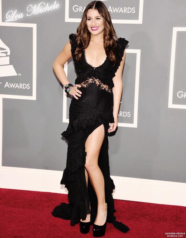 Zoom sur Lea Michele lors des Grammy Awards 2011