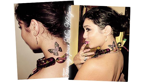 """La folie des tatouages n'en finit pas sur nos stars, c'est maintenant au tour de la Hudgens de s'en faire un! Pourquoi un papillon? Tout simplement parce que c'est ce que  signifie le prénom """"Vanessa""""! Alors vous le trouver comment?"""