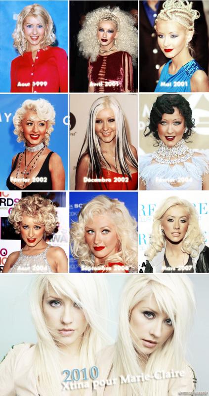 Voici l'évolution du style de Christina Aguilera au fil des années , du changement vous ne trouvez pas? :)