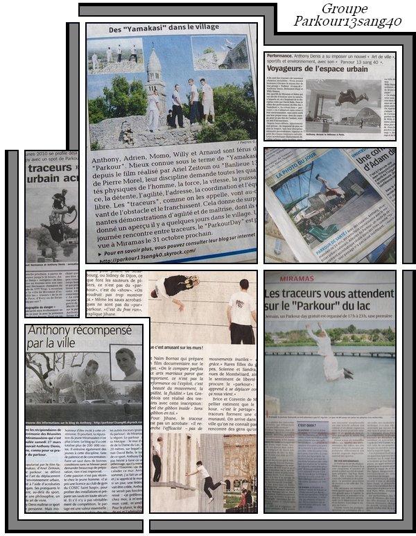 Le Groupe Parkour13sang40 dans la Presse