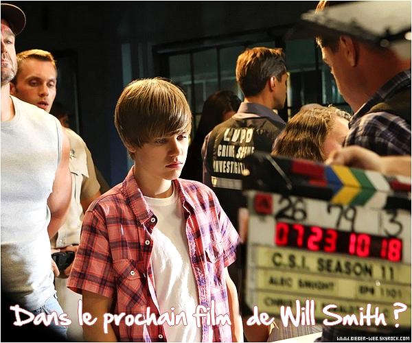 . JUSTIN BIEBER : DANS LE PROCHAIN FILM DE WILL SMITH . Après avoir participé à un épisode des Experts Justin Bieber reviendra dans le prochain film de Will Smith en 2011 qui est encore classé top secret. Justin Bieber surpris sur scène avec sa s½ur Jazmyn ne délaisse pas pour l'instant la musique pour le cinéma mais à ce rythme-là ça ne saurait tarder ! Cet intérêt pour la famille Smith n'est pas un hasard car Justin Bieber a déjà travailler au côté de Jaden Smith, le fils de Will Smith, avec la Bo de Never Say Never et leur duo dans The Karaté Kid ! Inutile de dire qu'il a la famille Smith dans la poche c'est qui la prochaine cible maintenant ? On pourrait penser que Justin Bieber qui lutte contre l'acné a tous de l'adolescent normal mais détrompé vous ! Surnommé le roi de Twitter avec ses 5 millions d'abonnés Justin Bieber est sur tous les fronts musique, ciné ou il sortira son film en 3D et est le chouchou de toutes les plus grandes stars comme Usher son mentor et Akon qui le considère comme son fils. Mais avec tous ces projets ciné Justin Bieber risque d'avoir moins de temps pour la musique alors va-t-il s'arrêter de chanter pour autant ? .
