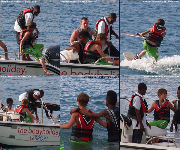. Quand Justin était à St Lucie, il fait du wakeboarding avec son père Jeremy et Lil Twist ! .