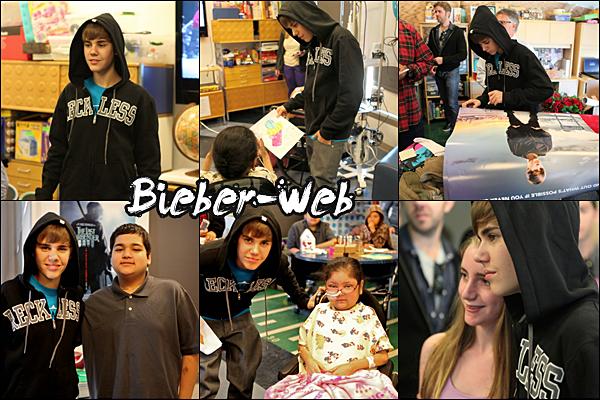 . 14/02/11  - Le jour de la St Valentin, Justin était a l'hôpital Mattel Children's Hospital à Los Angeles, il a passé son film à l'hopital pour les enfants car ils ne pouvaient pas se déplacés aux cinama et a ensuite, il a pris des photos avec eux !  .
