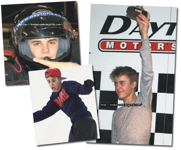 .  Justin a été vue entrain de faire du Karting et du Snowboard à Machester. .