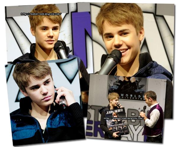 .  Justin a été à une conférence de presse en Hollande, il a réçu un disque de platine pour ses albums.