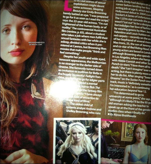 Emily apparait dans le numéro de Juillet  du magazine  « Who » américain et australien .