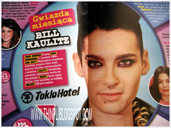 Twist (Pologne). Star du mois : Bill Kaulitz. Traduction de Brunette-41 pour Bill-Rocks.skyrock.com