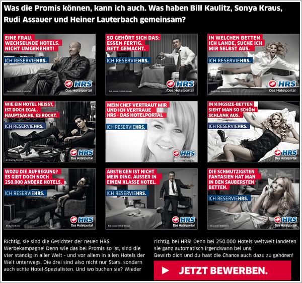 Bill Kaulitz dans la liste « Aktuelle werbestars (Publicité de star actuelle) » sur le site de HRS