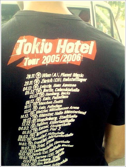 T-shirt de la tournée 2005/2006 de Tokio Hotel