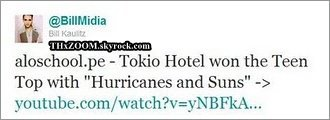 Aloschool.pe ; Tokio Hotel a gagné le Teen Top avec ''Hurricanes and Suns''.