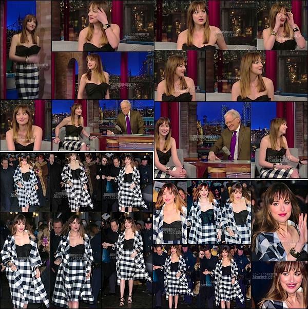 17.02.15    Dakota a été photographier à l'émission Late Show With David Letterman à New York.   Un peu plus tard , Dakota a été vu en quittant l'établissement de l'émission . J'aime beaucoup la tenue qu'elle porte Dakota .