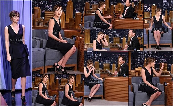. 16/09/2015 : Dakota a été photographier en se rendant à l'émission de Jimmy Fallon à New York . .