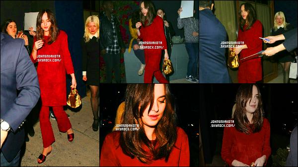 .14/03/17: Dakota Johnson a été au  Jimmy Choo's Power Stylists Dinner, à  West Hollywood  .   Plus tard , Dakota a été vu en quittant le diner . Personnellement , je n'aime pas la tenue de Dakota  , elle aurait plus faire une effort . Flop. Avis ?  .