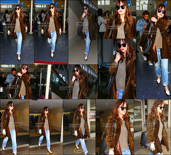 .05/05/17: Dakota Johnson  a été photographier en arrivant à l'aéroport de LAX à Los Angeles  - Calif . Et toi , la belle Dakota est enfin de retour sur le sol de la Californie après avoir passée 6 jours à New York . J'aime pas trop sa tenue par contre.Avis ?